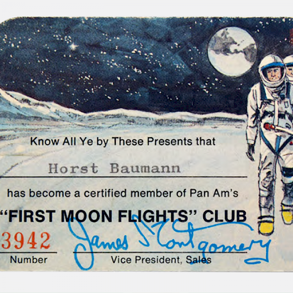 Pan Am 'First Moon Flights' Club Member Card, Detail, Swiss Space Museum