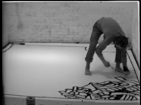 Keith Haring, Painting myself into a corner, 1979, Film Still. Courtesy Keith Haring Foundation.
